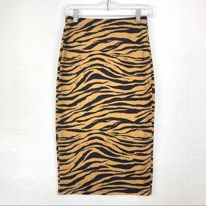 ZARA Tiger Print Pencil Skirt